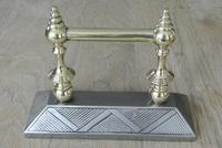 Quality Pair of  Victorian Aesthetic Movement Cast Iron & Brass Fire Dogs Fire Iron Rests Andirons c.1880 (3 of 8)