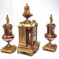 Incredible French Sevres Mantel Clock French Striking 8-day Garniture Clock Set (14 of 19)