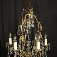 French Gilded Birdcage Antique Chandelier (6 of 10)