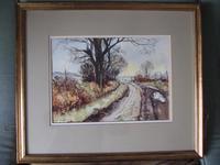 """Geoff Bartlett Watercolour  """"A Quiet Lane,  Dorset"""""""
