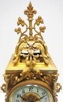 Superb Antique French Ormolu Mantel Candelabra Clock Set Embossed Decoration Finial 8 Day Striking (13 of 15)