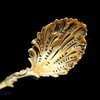 Victorian Silver Gilt Sugar Sifter Spoon 'diana The Huntress' Figure - Francis Higgins 1854 (22 of 23)