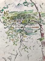 Original watercolour 'Kingsland thru trees' by Ken Walch 1928-2017. Signed c.1970