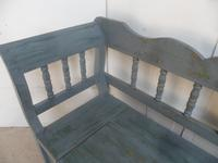 Grey / Green 3-4 Seater Antique Pine Heart Kitchen / Hall Box Settle / Bench (6 of 10)