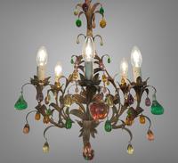 Murano Glass a Fruit Venetian 6 Arm Toleware Ceiling Light Chandelier (4 of 9)