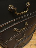 Antique Black Painted Serpentine Chest of Drawers, Bachelors Chest, Gothic (10 of 12)