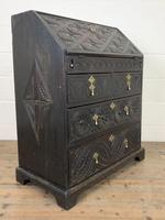 Antique Carved Oak Bureau (12 of 14)