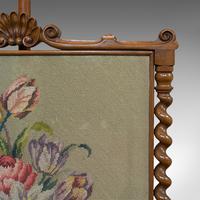 Antique Adjustable Fire Screen, Walnut, Needlepoint, Decorative, Pole, Regency (3 of 12)