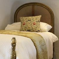 Gilded Louis XVI Matching Pair of Twin Single Caned Rattan Beds (3 of 8)