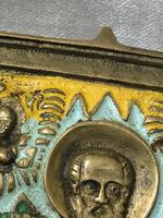 Early 20th Century Cold Painted Bronze Religious Russian Orthodox Church Icon (7 of 15)