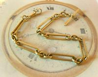 Antique Pocket Watch Chain 1890 Victorian Large Brass Fancy Albert With T Bar (5 of 11)