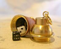 Vintage Pocket Watch Chain Fob 1960s Brass & Leather Gambling Fob With Dice (4 of 10)