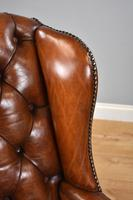 Victorian Hand Dyed Brown Leather Wing Back Armchair (13 of 13)