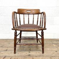 Antique Desk Chair with Leather Seat (2 of 10)
