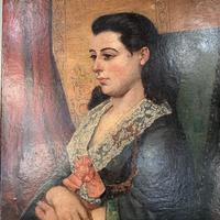 Antique Victorian oil painting portrait Girl in Lace Collar attributed to Dicksee (6 of 9)