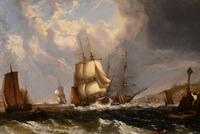 """Oil Painting by William Broome of Ramsgate """"Coastal Shipping"""" (6 of 7)"""