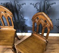 Pair of Victorian Gothic Style Hall Chairs (9 of 13)