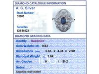 0.63ct Sapphire & 1.64ct Diamond, 18ct White Gold Dress Ring c.1935 (6 of 9)
