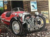 Signed Painting of a Morgan Three Wheeler Circa 1960's (2 of 3)
