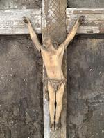 Antique French 18th Century wall mounted crucifix on gesso plaque (6 of 10)