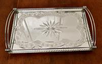 Art Deco Silver Plated Cut Glass Mirror Tray (6 of 11)
