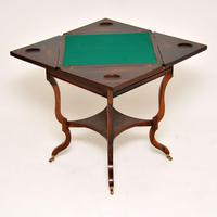 Antique Victorian Inlaid Rosewood Envelope Card Table (2 of 12)