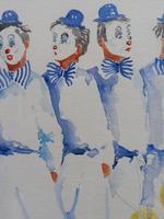Watercolour Clowns with Tellow Balloons Listed Irish Artist Judith Caulfield Walsh (5 of 10)