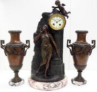 Art Nouveau Figural Mantel Clock Set 8 Day (7 of 11)