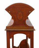 Victorian 19th Century Satin Walnut Bookcase / Book Trough (4 of 6)