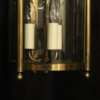French Gilded Pair of Convex Triple Light Lanterns c.1930 (7 of 10)