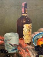 Exceptional Original Vintage Still Life of Fruit & Wine French Oil Painting (6 of 12)