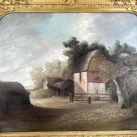 Antique Large Victorian Landscape Oil Painting of a Farm Signed J Howard (4 of 10)