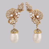 Vintage Diamond & Pearl Drop Earrings 1950s 18ct Gold 3.5carat Diamond Earrings (11 of 11)