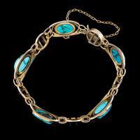 Antique Victorian Art Nouveau Turquoise Matrix Bracelet 9ct Gold Murrle Bennett Circa 1900 (3 of 7)