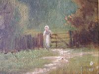 Early 20th century oil painting on board of young woman in rural landscape (3 of 5)