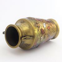 Japanese Meiji Period Large Bronze & Mixed Metal Vase c.1885 (6 of 11)