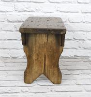 Antique Pine Bench Stool (3 of 5)