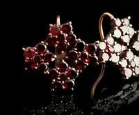 Antique Victorian Bohemian Garnet Flower Earrings, 9ct Gold (9 of 11)