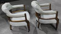 1920s Pair of Mahogany Salon Armchairs in Pale Upholstery (3 of 3)