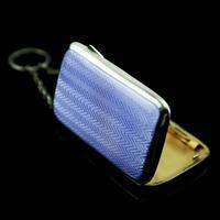 Antique Solid Silver Blue Enamel Guilloche Cigarette Case - Robert Chandler 1916 (14 of 15)