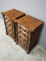 Pair of Victorian Figured Walnut Bedsides (5 of 10)