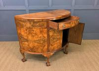 Burr Walnut Queen Anne Style Demi Lune Commode (10 of 11)