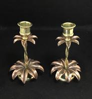 Pair of Brass and Copper Arts and Crafts  WAS Benson Style Antique Candlesticks (6 of 6)