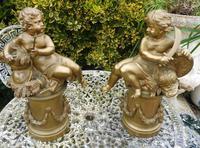 """Pair of Bronze Puttie 16"""" Height 1880"""