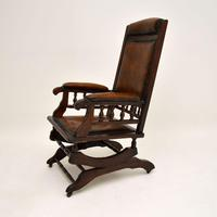 Antique Victorian Leather Rocking Chair (3 of 9)