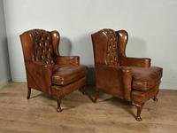 Antique Pair of Leather Chesterfield Wing Chairs (3 of 5)