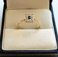 18ct Gold Platinum Art Deco Sapphire & Diamond Ring Size M.5 (3 of 16)