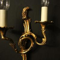 French Set of 4 Gilded Opposing Twin Arm Wall Lights (3 of 9)