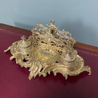 Superb Quality Antique Brass Inkwell Letter Holder Desk Set (2 of 5)