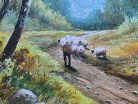 Near Darley Dale 19thc Derbyshire Sheppard Sheep  Landscape Watercolour Painting (5 of 13)